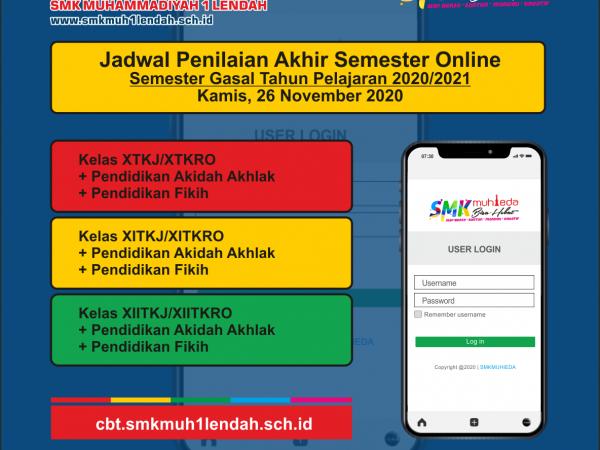 Jadwal PAS Semester Gasal 26/11/2020