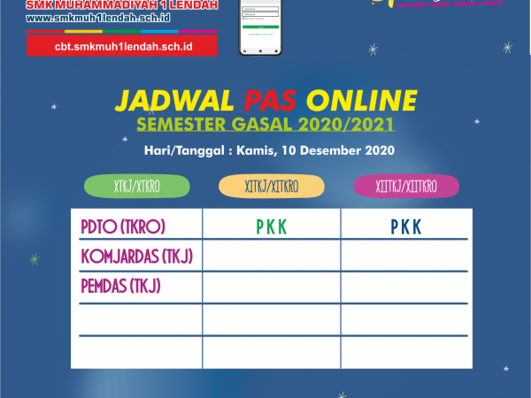 Jadwal PAS Semester Gasal 10/12/2020