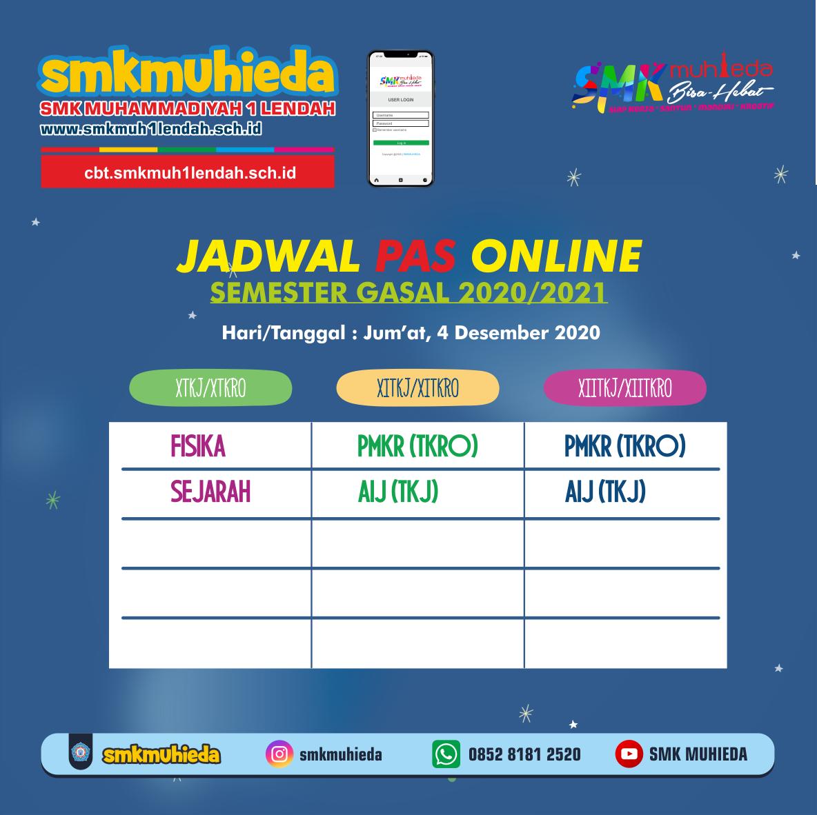 Jadwal PAS Semester Gasal 4/12/2020