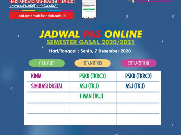 Jadwal PAS Semester Gasal 7/12/2020