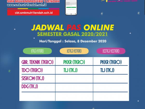 Jadwal PAS Semester Gasal 8/12/2020